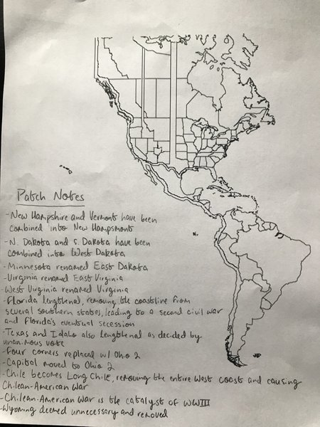 """[Daughter has no homework, works on map instead.] """"Chile becomes 'Long Chile,' removing the entire west coast and causing Chilean-American War"""" –Craig Calcaterra on Twitter"""