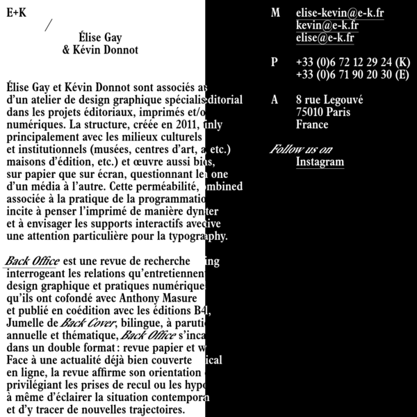 E+K - Élise Gay & Kévin Donnot
