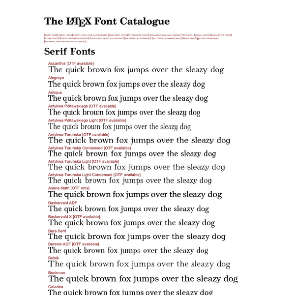 The LaTeX Font Catalogue - Serif Fonts