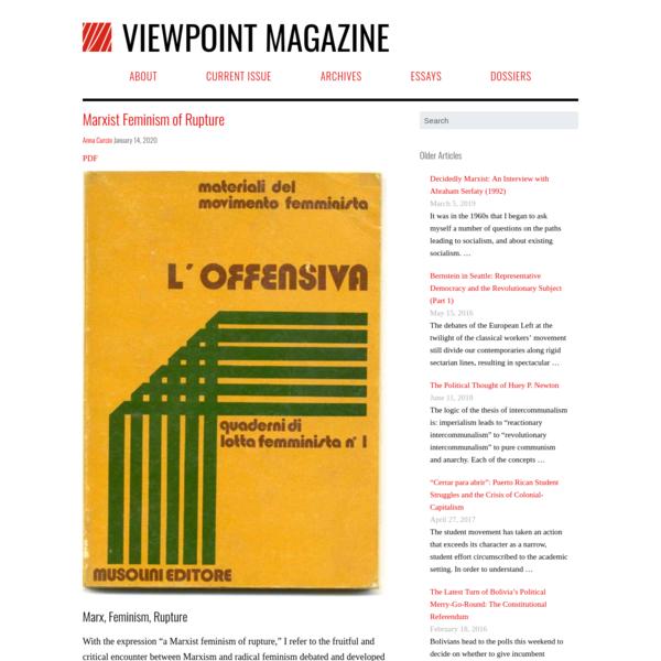 Marxist Feminism of Rupture - Viewpoint Magazine