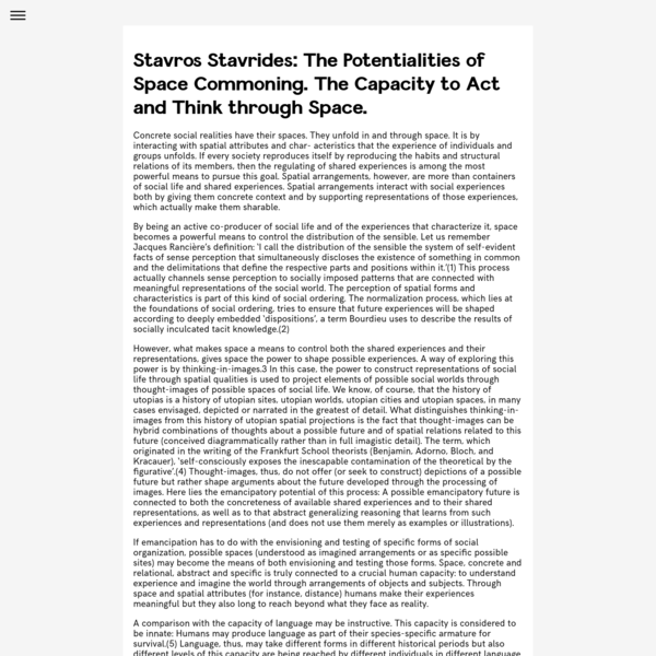 Stavros Stavrides: The Potentialities of Space Commoning. The Capacity to Act and Think through Space.