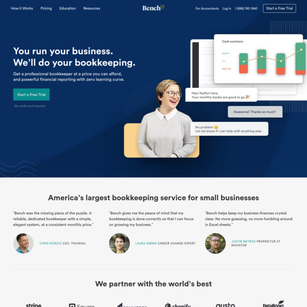 Online Bookkeeping Services for Your Small Business | Bench Accounting