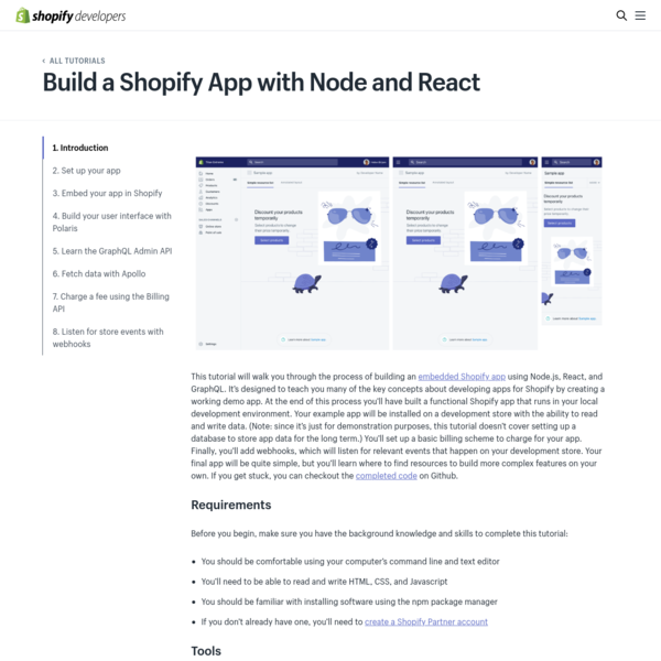 Build a Shopify App with Node.js and React