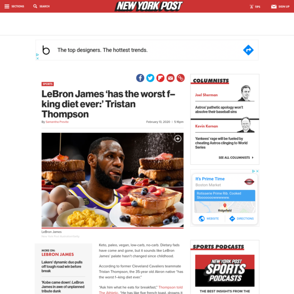 LeBron James 'has the worst f-king diet ever:' Tristan Thompson