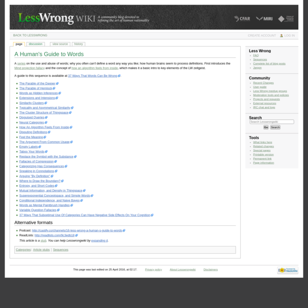 A Human's Guide to Words - Lesswrongwiki