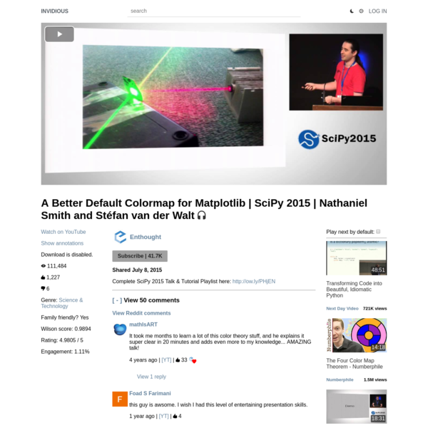 A Better Default Colormap for Matplotlib | SciPy 2015 | Nathaniel Smith and Stéfan van der Walt