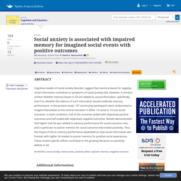 Social anxiety is associated with impaired memory for imagined social events with positive outcomes