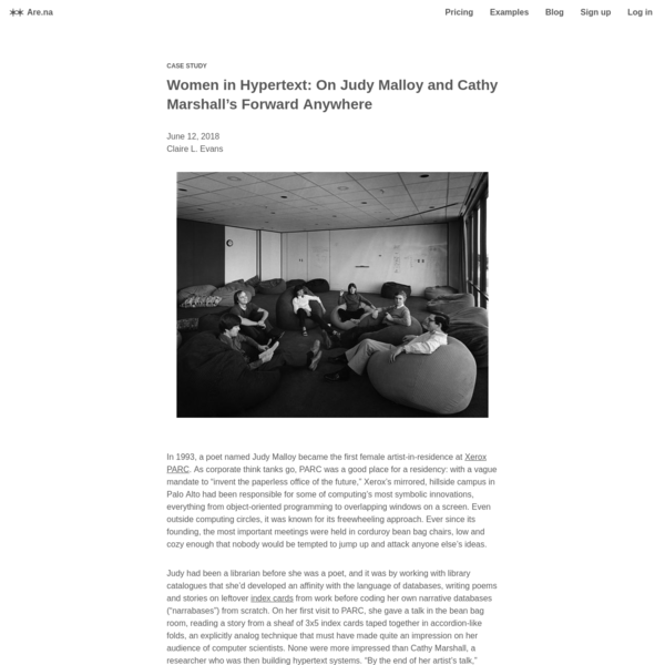 Are.na / Women in Hypertext: On Judy Malloy and Cathy Marshall's Forward Anywhere