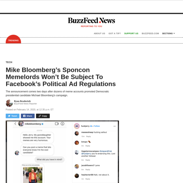 Mike Bloomberg's Sponcon Memelords Won't Be Subject To Facebook's Political Ad Regulations