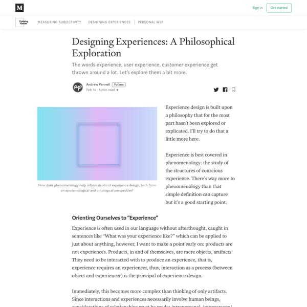 Designing Experiences: A Philosophical Exploration