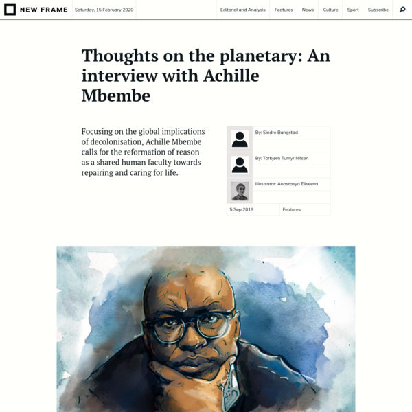 Thoughts on the planetary: An interview with Achille Mbembe