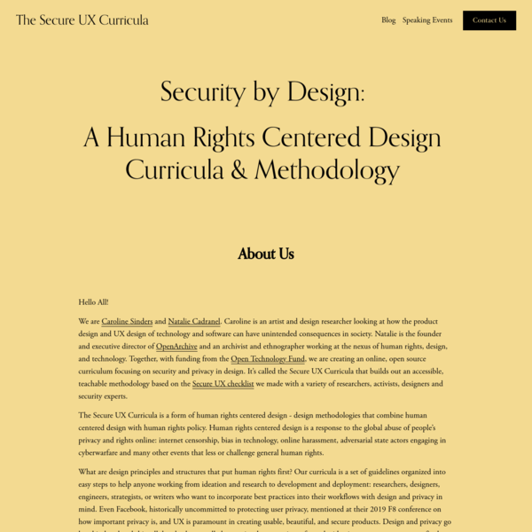 The Secure UX Curricula