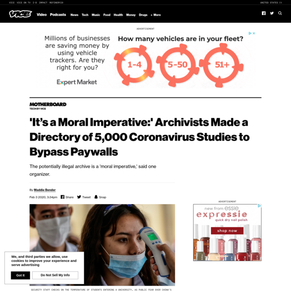 'It's a Moral Imperative:' Archivists Made a Directory of 5,000 Coronavirus Studies to Bypass Paywalls
