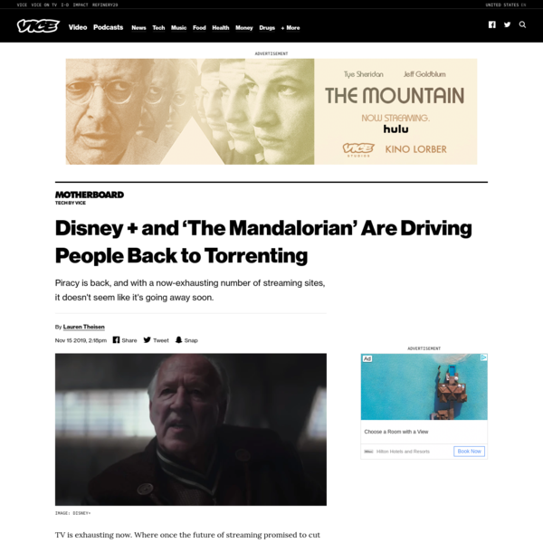 Disney + and 'The Mandalorian' Are Driving People Back to Torrenting