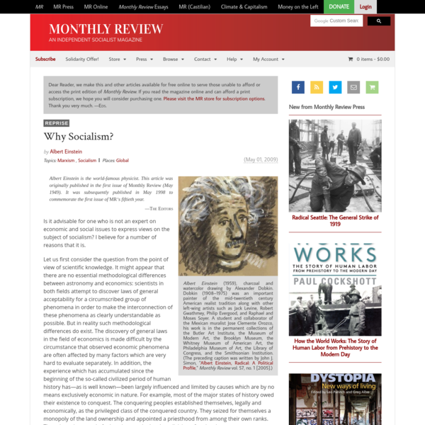 Monthly Review | Why Socialism?