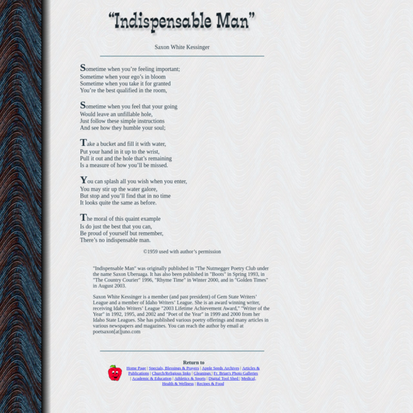 """Indispensable Man"" by Saxon White Kessinger"
