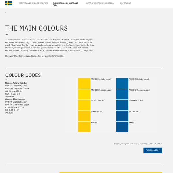 Identitytool for Sweden | The main colours