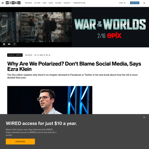 Why Are We Polarized? Don't Blame Social Media, Says Ezra Klein