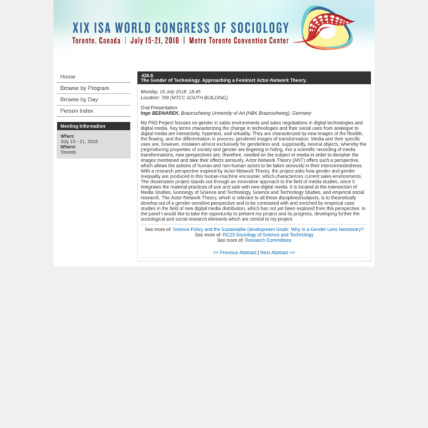 XIX ISA World Congress of Sociology (July 15-21, 2018)