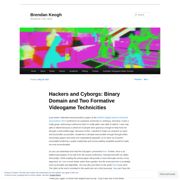 Hackers and Cyborgs: Binary Domain and Two Formative Videogame Technicities