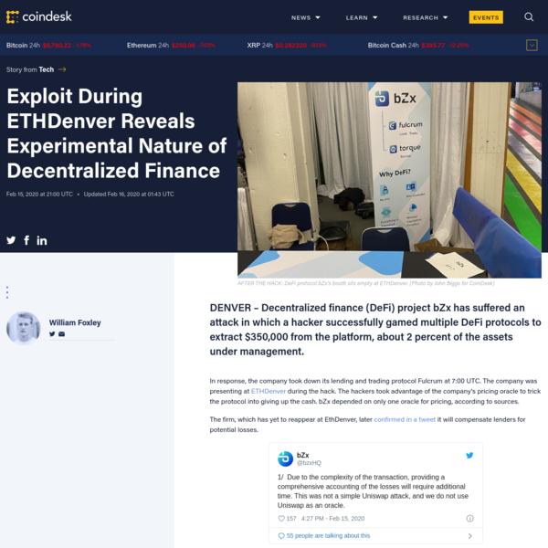 Exploit During ETHDenver Reveals Experimental Nature of Decentralized Finance - CoinDesk