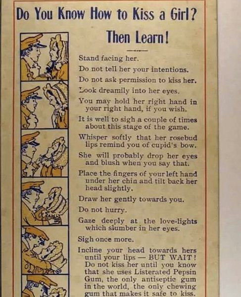 Content Marketing 1911 – instructions on how to kiss a girl from 1911