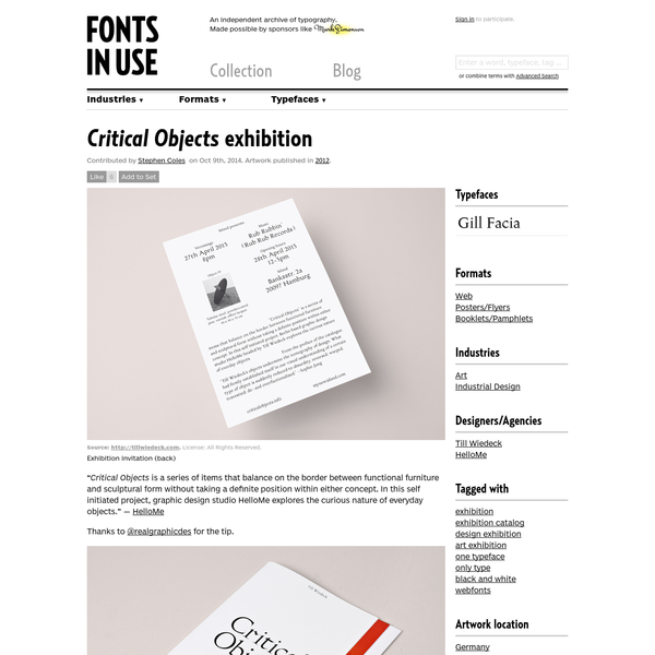 Critical Objects exhibition