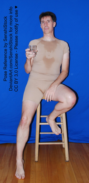 Pose reference sitting on stool with drink, Senshistock