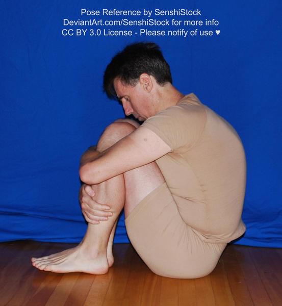 Pose Reference Sad Male Curled Up Depressed, Senshistock