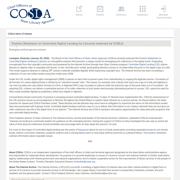 Position Statement on Controlled Digital Lending by Libraries endorsed by COSLA