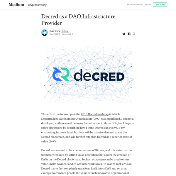 Decred as a DAE Infrastructure Provider