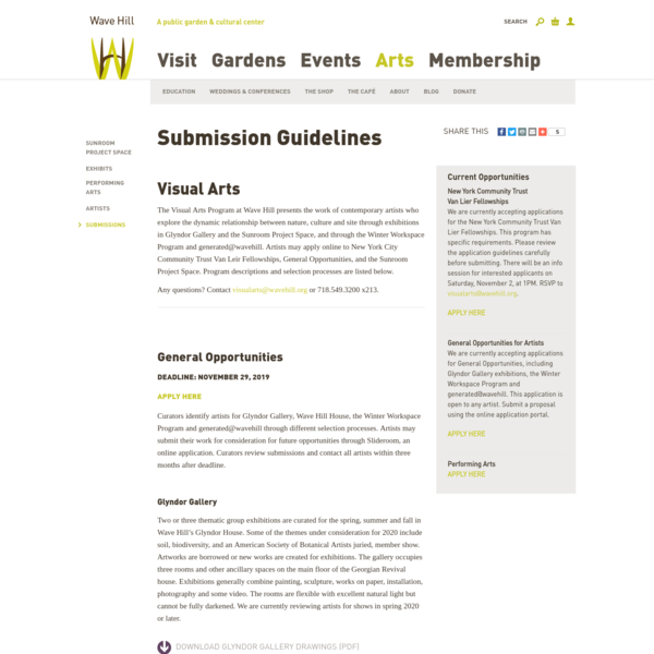 Submission Guidelines || Wave Hill - New York Public Garden and Cultural Center