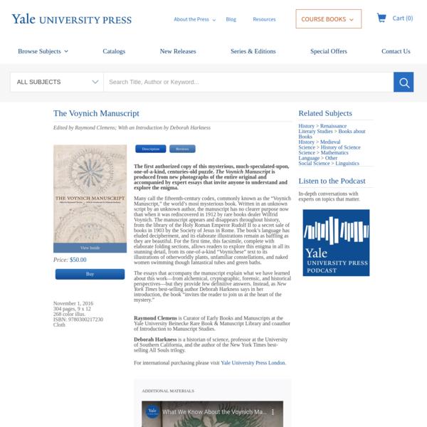 Voynich Manuscript   Yale University Press
