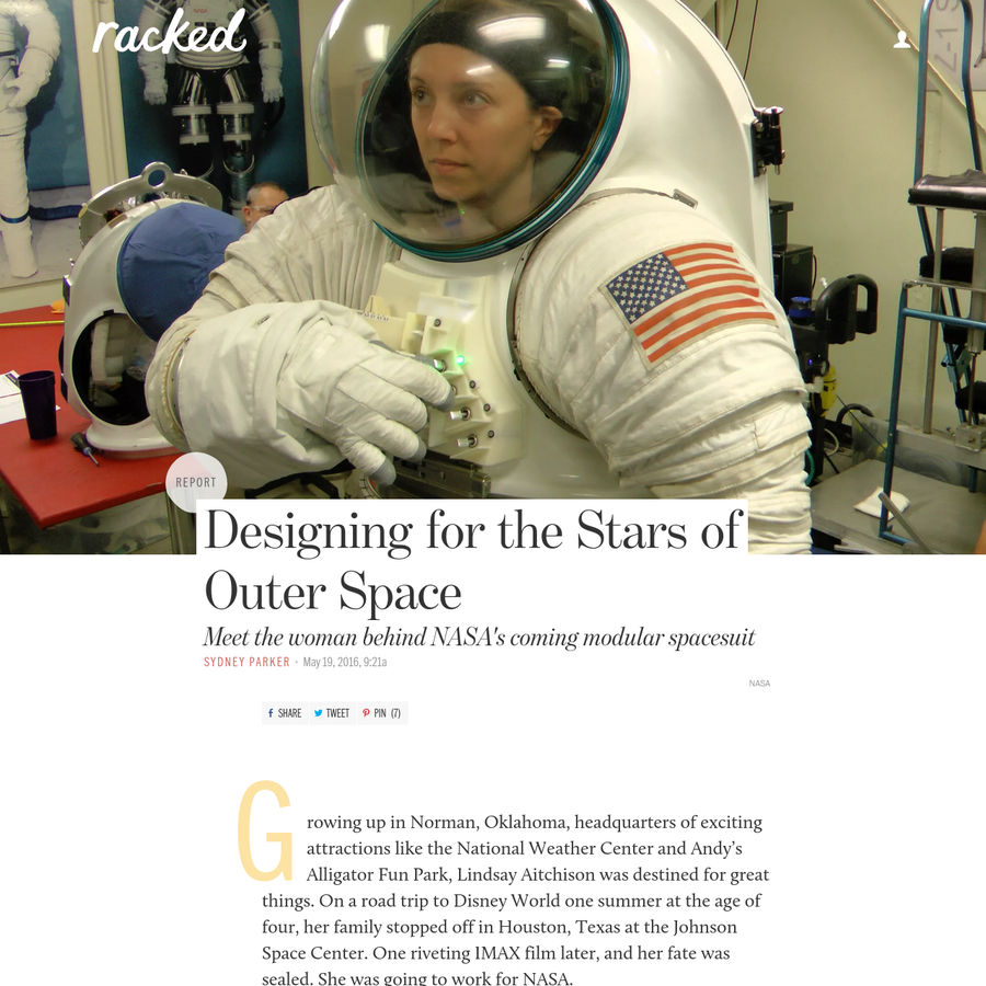Today Aitchison is NASA's Deputy Project Manager of the Advanced Spacesuit Project. Her work days are pretty typical. She wakes up around 6:30AM, takes her dogs out, eats breakfast, and then designs spacesuits for astronauts to wear on Mars. You know, the usual. So where does one go to get a degree in spacesuit design?