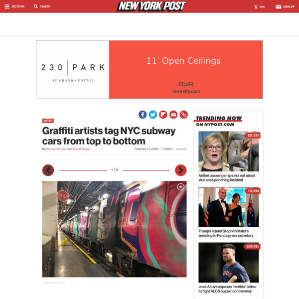 Graffiti artists tag NYC subway cars from top to bottom