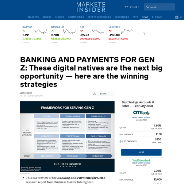 BANKING AND PAYMENTS FOR GEN Z: These digital natives are the next big opportunity - here are the winning strategies | Marke...