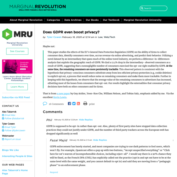 Does GDPR even boost privacy? - Marginal REVOLUTION