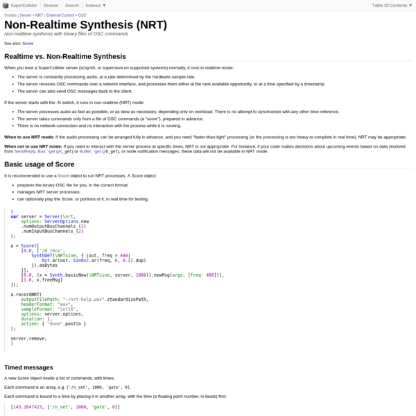 Non-Realtime Synthesis (NRT)