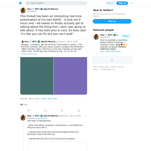 """Visa ✈️ NYC! 🗽 (Apr23-May12) on Twitter: """"This thread has been an interesting real-time examination of my own ADHD – it took me 9 hours and ~40 tweets to finally actually get to talking about the thing that I said I was going to talk about. It has both pros & cons. Ex-boss said """"it's like you can fly but you can't walk"""" https://t.co/NnNkdkG4lp"""" / Twitter"""