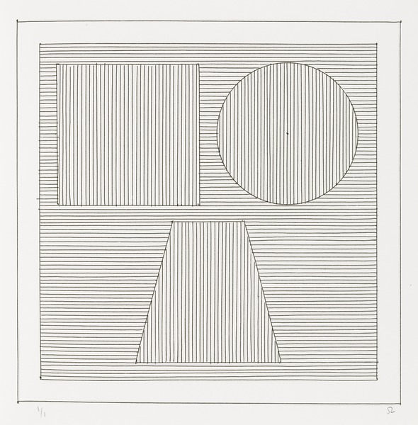 Sol LeWitt. Plate (folio 25) from Six Geometric Figures and All Their Combinations, Volume II. 1980