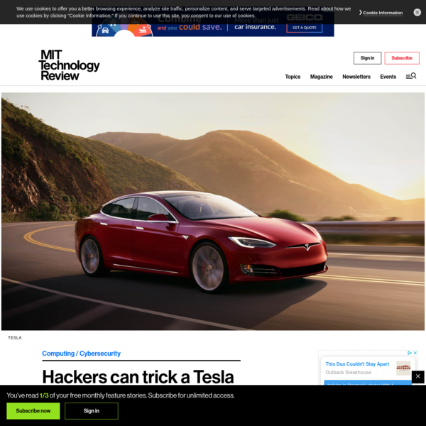 Hackers can trick a Tesla into accelerating by 50 miles per hour - MIT Technology Review