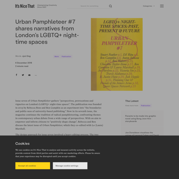 Urban Pamphleteer #7 shares narratives from London's LGBTQ+ night-time spaces