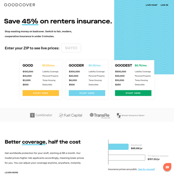 Goodcover - Fair, modern, cooperative renters insurance | Starting at $5 a month
