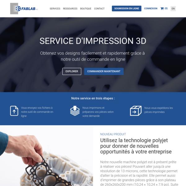 Impression 3D | Scan 3D et Prototypage Rapide | Fablab Inc.