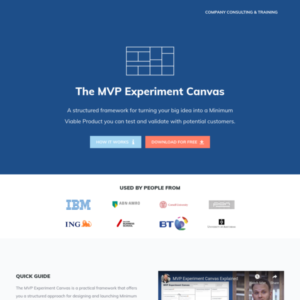 The MVP Experiment Canvas - by Bram Kanstein