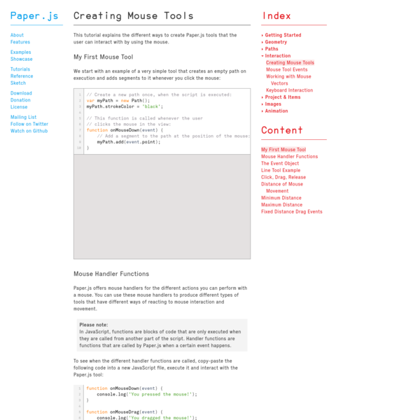 Creating Mouse Tools