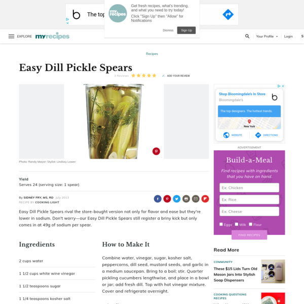 Easy Dill Pickle Spears