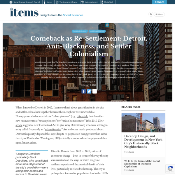 Comeback as Re-Settlement: Detroit, Anti-Blackness, and Settler Colonialism