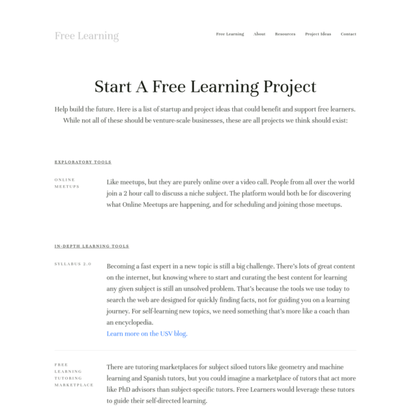 Project Ideas - Free Learning