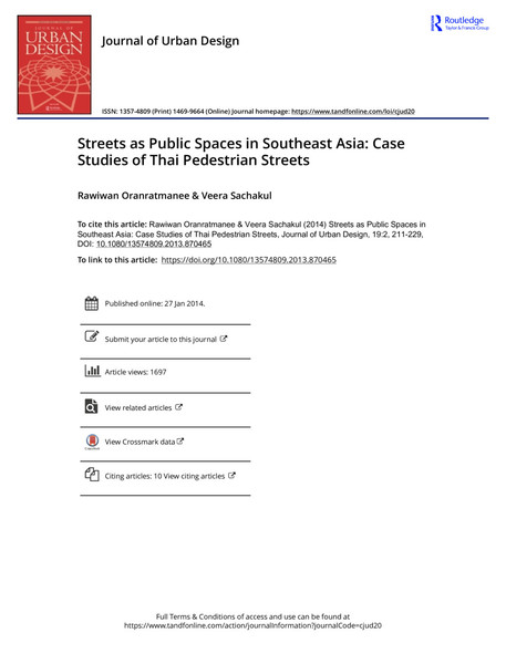 Streets as Public Spaces in Southeast Asia, Rawiwan Oranratmanee